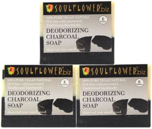Soulflower Deodorizing Charcoal Soap Regime 150g, 100% Premium & Pure, Natural & Undiluted, For Oily Skin, Pimple Care, Moisturizing Soap, Luxury, Premium Handmade Soap