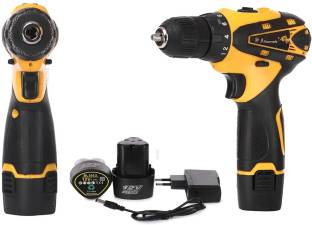 TWONE ALTOCRAFTE Drill Plastic Cordless Drill Screw Driver 10mm Keyless Chuck 12V with Batteries (Yell...