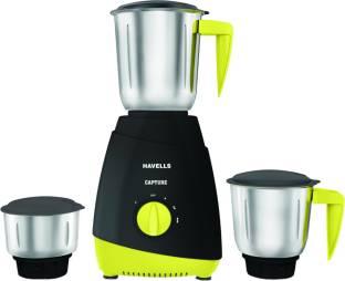 HAVELLS Capture 500 W Mixer Grinder (3 Jars, Grey and Green)