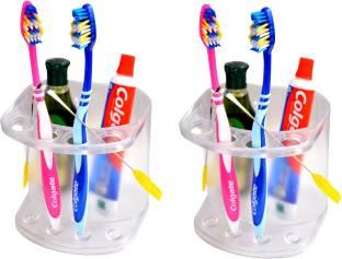 LOGGER - Toothbrush holder Multi User Set of 2 pcs Acrylic Toothbrush Holder