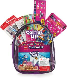 cello ColourUp Hobby Bag of Assorted Stationery Crayons, Sketch Pens, Oil Pastel, Gel pens, Mechanical Pencils, Clay with Kids Activity Book inside