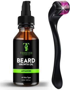 Torexo Cosmetics Beardinator Basics, Beard Growth Kit with Beard Growth Oil (50ml) & Beard Activator (Derma Roller) 0.5 mm, 540 titanium needles)   Made in India