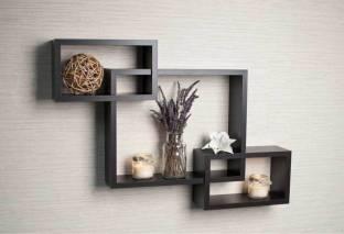 Eco Handicrafts Wall Shelf for Living Room, Bedroom, Home Decoration | Tier Rack Shelf| Shelf| Shelf for Living Room| Shelf for Bedroom| Shelf for Office| Shelf for Decoration(Black) Wooden Wall Shelf