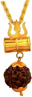 NIKITA ENTERPRISES Loard Shiv Vinaashkari Shakti Kavach 5 Mukhi Chamtkaari Pendant with Golden New Cha...