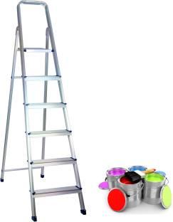 RAFTTAR 6 Step ( 1 Platform + 5 Step )Anodized Aluminium Ladder Aluminium, Steel Ladder