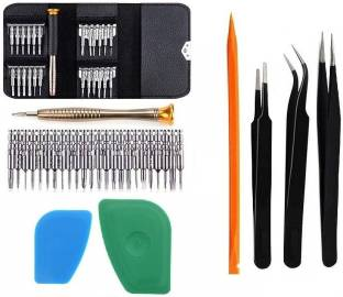wroughton 25 in 1 Precision Screwdriver Set Multi Pocket Repair Tool Kit with Black Leather Bag for Mo...