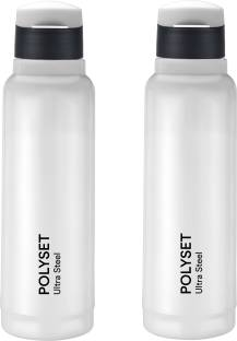 POLYSET by Polyset Plastics Private Limited - India Vogue Fliptop 600ml, Double Wall PU Insulated Inner Steel Bottle, White, Pack of 2 600 ml Bottle