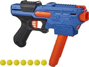 Nerf Rival Finisher XX-700 Blaster, Quick-Load Magazine, Spring Action, Includes 7 Rounds, Team Blue Guns & Darts
