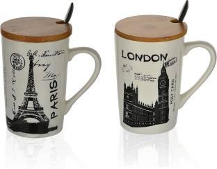 Satyam Kraft Ceramic Coffee With Lid And Spoon - 2 Pieces, Random Ceramic Coffee Mug