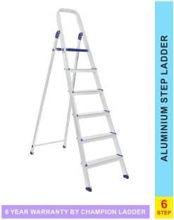 champion ladders Advance Carbon-6 Step Aluminium Ladder with Scratch Resistance Heavy Platform Alumini...