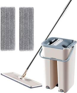 SHIRU TECHNOLOGIES Mop with Bucket Hands-Free Microfiber Flat Spin Mop System 360° Flexible Head Mop with 2 Microfiber Pads, Stainless Steel Handle Mop Mop