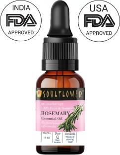 Soulflower Rosemary Essential Oil, 15ml, 100% Pure, Natural & Undiluted Re vitalizer for Hair Growth, Long, Shining & Strong Hair, Hydrating & Moisturising Skin, For Steam, Cough & Cold - Camphor Family