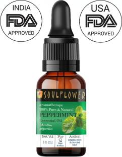 Soulflower Peppermint Essential Oil 15ml, 100% Premium & Pure, Natural & Undiluted, For Organic Steam Inhaler,, Steam Inhaler, Cough, Cold, Cough, Cold, Relaxing, Rapid Hair Growth - Camphor Family Premium Oil (Pudhina)