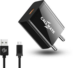 Callmate LC010 Fast Charger 2.4A Mobile Charger, Power Charger, Wall Charger, Android Smartphone Charger, Battery Charger, Hi Speed Travel Charger with 1m Micro USB Charging Cable -Black 2.4 A Mobile Charger with Detachable Cable