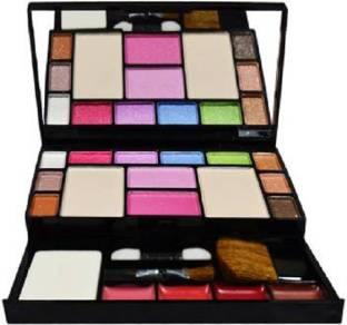 Lenon Makeup Kit - 10 Eye Shadows Palette 4 Lip Colour 2 Compact Powders