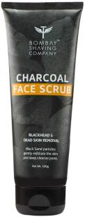 BOMBAY SHAVING COMPANY Charcoal Face Scrub with Black Sand, Exfoliates skins & Removes Black Heads, Black, 100 g Scrub
