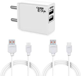 CaseStyle CH-11 2.4A Wall Charger with Dual USB Port Travel and Detachable Micro USB 2.4 A Multiport M...