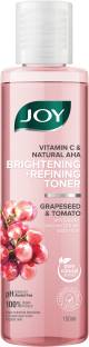 Joy Vitamin C & Natural AHA | Brightening + Refining Toner | With Grapeseed and Tomato | Glycolic Coenzyme Q10 and Witch Hazel | 100% Vegan | Alcohol, Sulphate & Paraben Free Men & Women