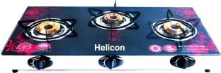 helicon Red & Black Glass, Steel Automatic Gas Stove
