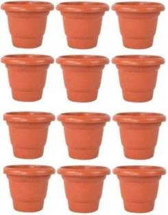 DECORKITE New Gardening Flower Pots-8Inch | Round Garden Plastic Planters Plant Container Set Gamla Pot for Garden and Balcony Flowering(Pack of 12, Plastic) Brown Plant Container Set