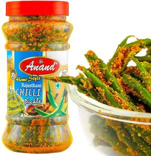 Anand Rajasthani Green Chilli Pickle Homemade Mirchi ka Achar, Natural Ingredients,Less Mustard Oil (300 Grams) Green Chilli Pickle