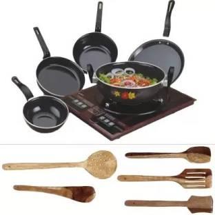 Maharajee Mercury High Quality Cookware Non Stick Cookware set combo of 10 pcs Induction Bottom Cookware Set