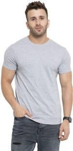 Fitty Solid Men Round Neck Grey T-Shirt