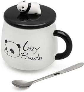 Satyam Kraft Cute 3D Lazy Panda Printed Panda Ceramic Coffee Milk Tea Cup with Funny Lid and Stainless Steel Spoon-Perfect Novelty Gift for Mom, Girls, Girlfriend, Wife, Panda Lovers Ceramic Coffee Mug