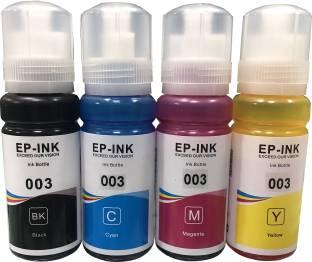 UV 003 REFILL INK COMPATIBLE FOR L3100/L3101/L3110/L3150 SERIES - 70ML EACH BOTTLE Black + Tri Color Combo Pack Ink Bottle