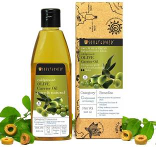 Soulflower Olive Oil, 225ml 100 % Natural Cold Pressed for Skin, Hair & Lips| For Strong Healthy Hair and Shiny Skin Hair Oil