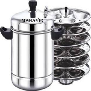 Mahavir Heavy Gauge Stainless Steel Idli Cooker Kitchen Accessories (Silver, 6 Plate, 24 Pcs) Induction & Standard Idli Maker