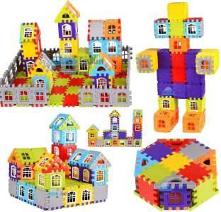 FunBlast Building Blocks for Kids, (72 Blocks) House Building Blocks with Windows, Block Game for Kids (Multicolor)