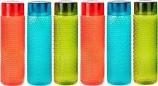 Filox Quality Water Fridge Sports Bottle For College School Office Set Of 1 1000 ml Bottle (Pack of 6, Multicolor, Plastic)  - 1000 ml Plastic Fridge Container