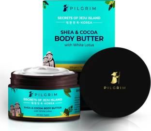 Pilgrim Ultra Hydrating Shea and Cocoa Body Butter   with White Lotus   Korean K-Beauty   Antioxidant, Rich & Hydrating   Paraben & Mineral Oil Free   All Skin Types   Unisex