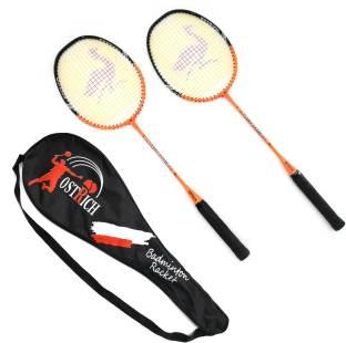 Ostrich AARU SMASH Aluminum Wide Body Badminton Racket Pack Of 2 Piece With 1 Cover Orange Strung Badminton Racquet