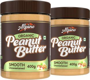 ALPINO Organic Natural Peanut Butter Smooth 800 G | Unsweetened | Made with 100% Roasted Organic Peanuts | 30% Protein | No Added Sugar | No Added Salt | No Hydrogenated Oils | Non GMO | Gluten Free | Vegan | 400 G Pack of 2 | 800 g