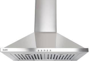 Glen Pyramid Kitchen Chimney 6050 Junior DX Stainless Steel Baffle Filters 60 cm 1000 m3/h Wall Mounte...