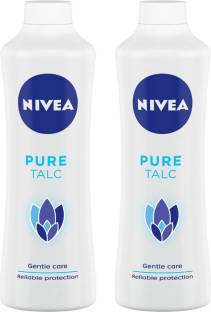 NIVEA Talcum Powder for Men & Women, Pure, For Gentle Fragrance & Reliable Protection Against Body Odour, 400 g ( Pack of 2)