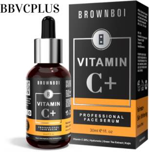 BrownBoi Vitamin C Serum Plus For Face Skin Whitening and Lightening With Hyaluronic Ascorbic Kojic Acid Green Tea and Mulethi Extracts Ideal For Wrinkles Pigmentation Stretch Marks (1FL OZ)