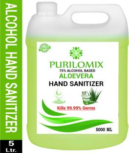 PURILOMIX Aloe Vera Liquid 75% Alcohol isopropyl Based Kills 99.99% Germs & Flu Viruses with triple action formula sanitizes hands Can 5 LTR  Can Hand Sanitizer Can