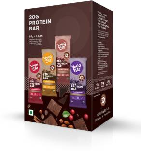 Yogabar 20g Whey Protein Bar | Pack of 6 Bars | Almond Fudge, Chocolate Cranberry, Baked Whey Protein