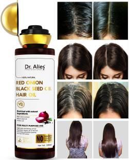 Dr. Alies Professional Onion Hair Oil - Black Seed Onion Hair Oil - Controls Hair Fall - For All Hair Problem Solution - No Mineral Oil, Colour, SLS, PEG for Men & Women (100 ml) Hair Oil