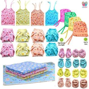 Bigbought New Born Baby Care Cloth Set Combo (Set Of 28, 4Jhabla, 8Nappy, 8Mittens,4Cap Hosiery Material And 4 plastic mat, Random Print (Multicolor)