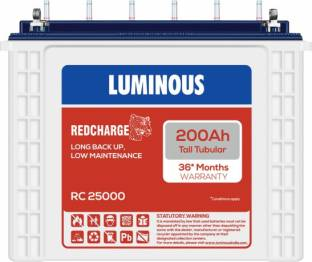 LUMINOUS RedCharge RC25000 200Ampere per hours (Ah) Tall Tubular Battery Tubular Inverter Battery