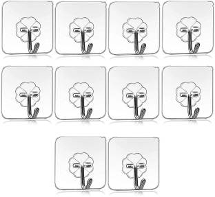 Tuelip Set of 10 Wall Hooks Heavy Duty Hooks for Hanging 10KG (Max) Magic Stickers Hooks Seamless Transparent Adhesive Hooks for Hanging Keys Coats Hats Bags Ceiling Hook