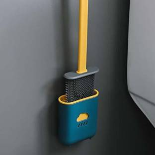 ASHVI CITY toilet Cleaner brush Long Handle Soft Silicone Bristle Clean --987 with Holder