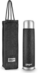 Pexpo by PEXPO Flamingo 1000 ML Tri-ply Vacuum Insulated Steel Bottle 3X Durable with Jute Bag 1000 ml Flask
