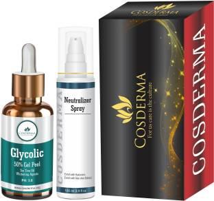 cosderma Glycolic Acid Peel 50% with Neutralizer Spray Fairness Rejuvenation Acne Scars & pigmentation Removal Treatment for Skin