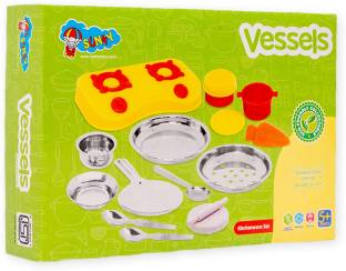 SUNNY Vessels 13 pieces kitchen set for kids.A perfect steel and plastic combo kitchen toys for hours of role play
