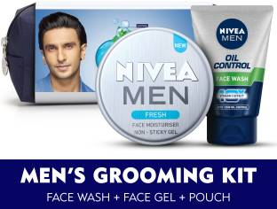 NIVEA MEN Grooming Kit, Fresh Face Moisturizer Gel 75 ml, Oil Control Face Wash 100 g, with Grooming Pouch